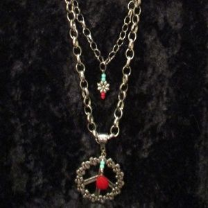 Red Leather/Silver Peace Necklace & Earring Set